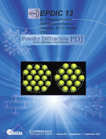 Powder Diffraction Journal September 2013 Supplement 2 coverart